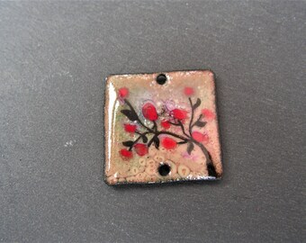enamelled copper (hot) charm pendant necklace square connector