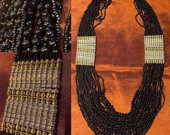 Black and gold necklace ethnic chic
