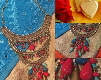 Ethnic bib red blue gold