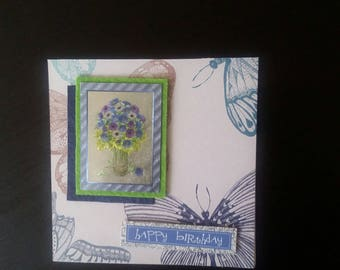 Flowers birthday greeting card blank inside