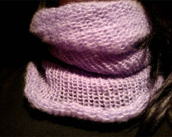 Light purple cowl, snood, angora wool