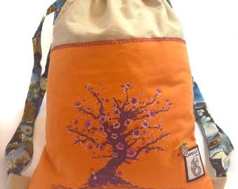 Orange Sakura cotton backpack