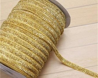Ribbon 10mm, gold glitter glitter the meter