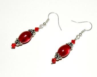 Olive red dangle earrings