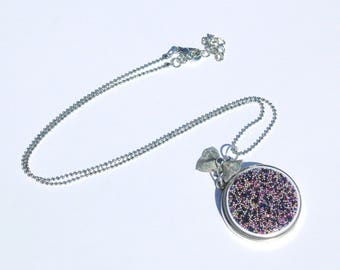 Mid-long necklace with glass and multicolored non pareils