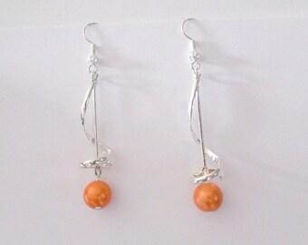 Wedding Pearl spiral earrings Orange