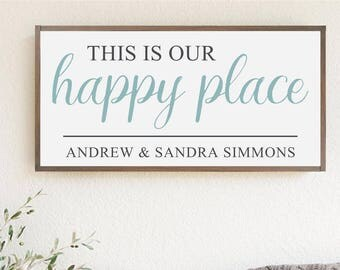 """Family Wood Sign   """"This is Our Happy Place""""   Home Sign   House Warming Gift   Anniversary   Holiday Gift   Wedding Gift"""