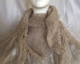 Châle, chèche, cheich, foulard avec franges, pour femme, tricoté main, couleur lin, fête des mères