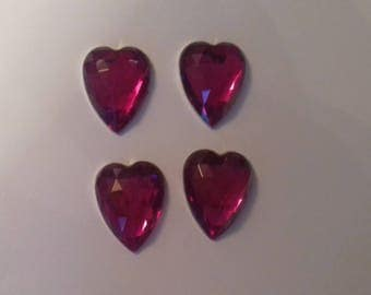 Set of 4 hearts embossed rose
