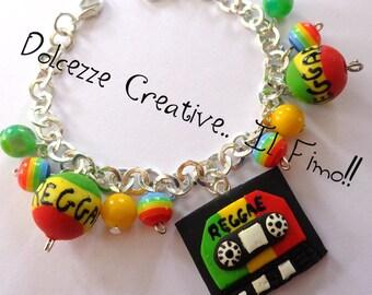 Bracelet MusiCassette reggae kawaii handmade