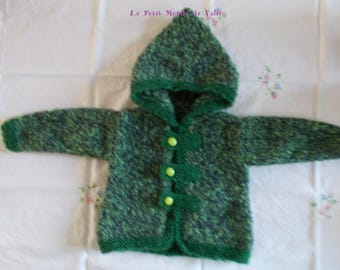 12 months Heather Green hooded jacket