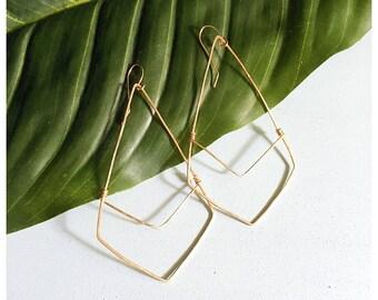 Diamond shape chevron earrings gold fill