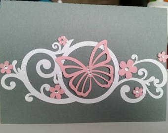 Pretty butterfly and flowers card