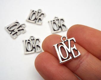 Small LOVE Charm 15 x 13mm, Silver Coloured