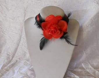 Necklace red flower Ribbon and feathers