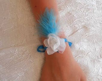 Ribbon wedding procession white flower bracelet