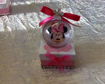 Minnie theme baptism favors box