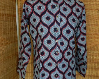 Men's shirt, gray and Brown, long sleeves, cotton print, diamond pattern size XS