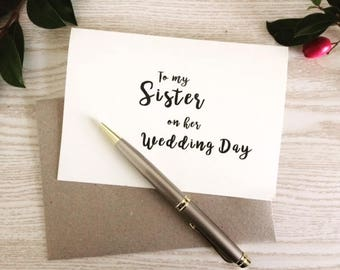 To my Sister on my Wedding day Note to Sister Wedding Day