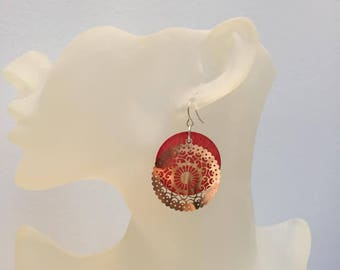 Red mother of Pearl coin and silver lace earrings