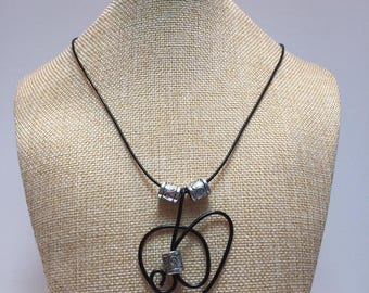 Wire aluminum Black beads necklace jewelry