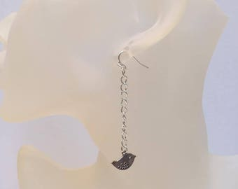 Bird charm on chain earrings