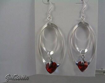 "Earrings ""Ruby Crystal heart, Silver Rings"""