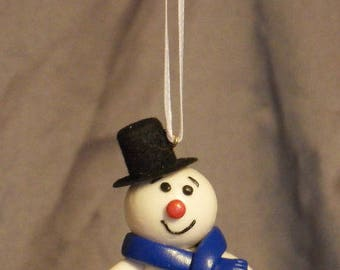 Snowman in polymer clay and velvet Hat