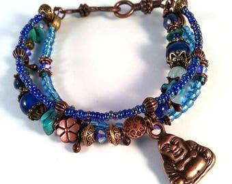 Gypsy Multistrands bracelet blue and Turquoise