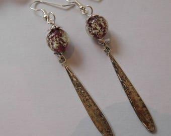 Dangle earrings glow 10 mm lampwork bead