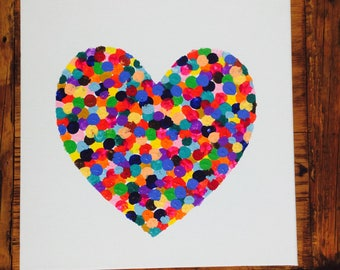 Canvas Heart Painting, multicoloured handmade original artwork.  GIFT WRAPPING AVAILABLE