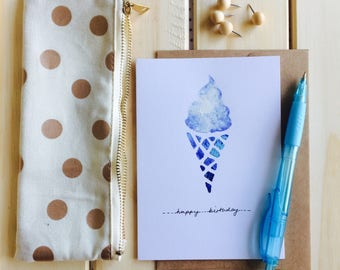 Icecream cone happy birthday card hand painted blue