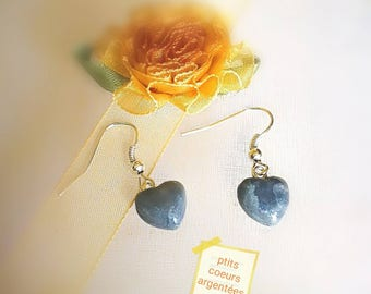 Hearts of silver 3D mounted on silver plated dangle earrings