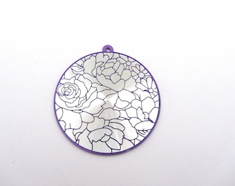Pendant large round silver and purple with flowers