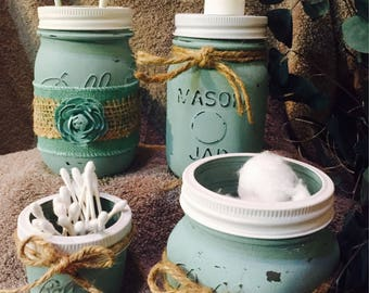 Chalk painted Mason Jar Bathroom vanity sets.
