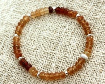 Bracelet 925 sterling silver and 4-5mm faceted Hessonite Garnet