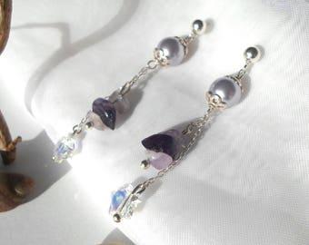 Earrings in sterling silver with Swarovski star & Amethyst