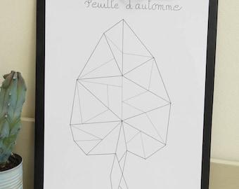 Poster original illustration Scandinavian style leaf origami
