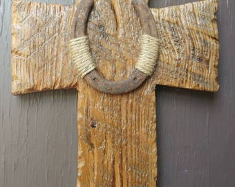 Rustic western barn wood cross
