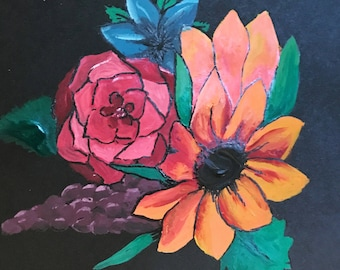 Hand Painted flowers on cardstock