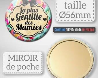 Pocket mirror the sweetest of grandmas celebrates the great mothers gift Grandma Badge 56 mm