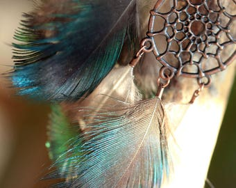 copper metal, green peacock feathers dream catcher earrings