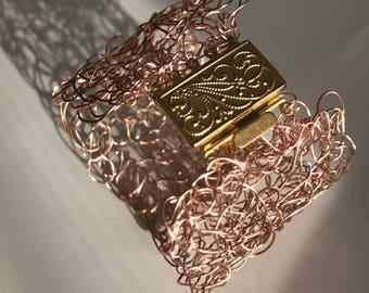 Rose gold crochet cuff bracelet