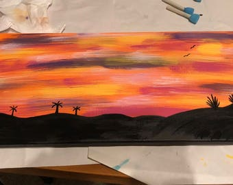 "10x20 inch ""Sunset"" Acrylic Painting"