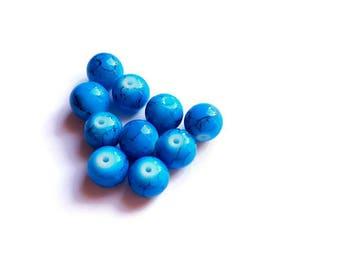 Blue 10 x 10 mm round beads