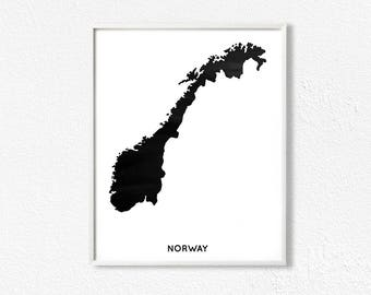 Handmade Norway Etsy - Norway map poster