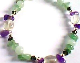 handmade bracelet - romantic style-Amethyst prasiolite-aventurine - Silver 925