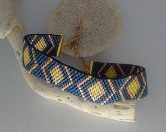 new blue denim and orange woven bracelet