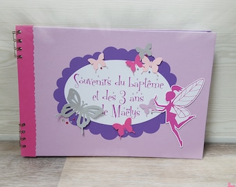 Simple fairy and butterflies cover personalized pink, fuchsia, violet and purple theme baptism guest book