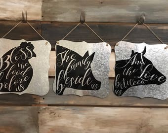 Farmhouse signs, Cow, Pig, Chicken, Metal Sign, Tin Sign, Kitchen signs, Home Decor, Magnolia, Farm decor, Blessing, Custom signs,gifts